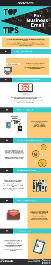 Top Tips business email infographic