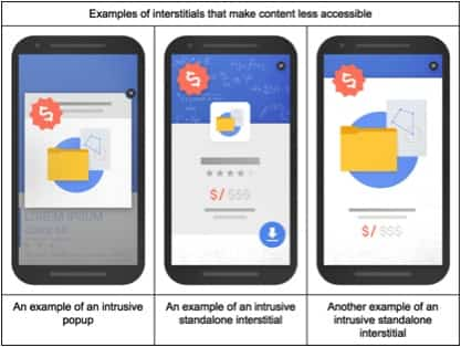 "Google Intrusive interstitial example 1 - Google is cracking down on ""Intrusive Interstitials"" from January 2017"