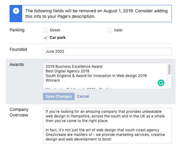 Facebook will remove specific Business Page info sections in August