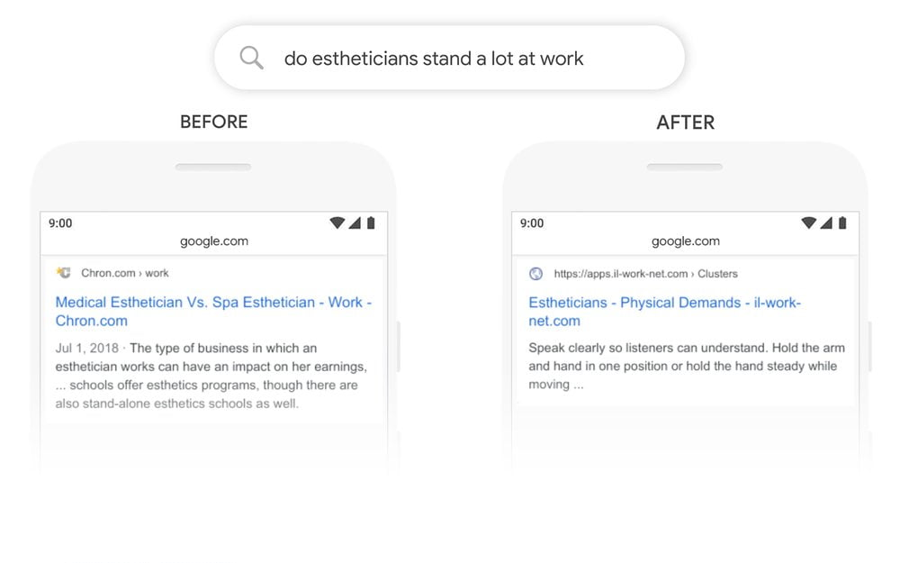 Screenshot of query 'Do aestheticians stand a lot at work' - Before and after BERT update