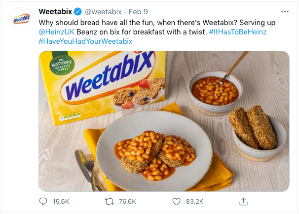 Screenshot 2021 02 10 at 10.00.18 - Weetabix, that Tweet, and why it worked so well