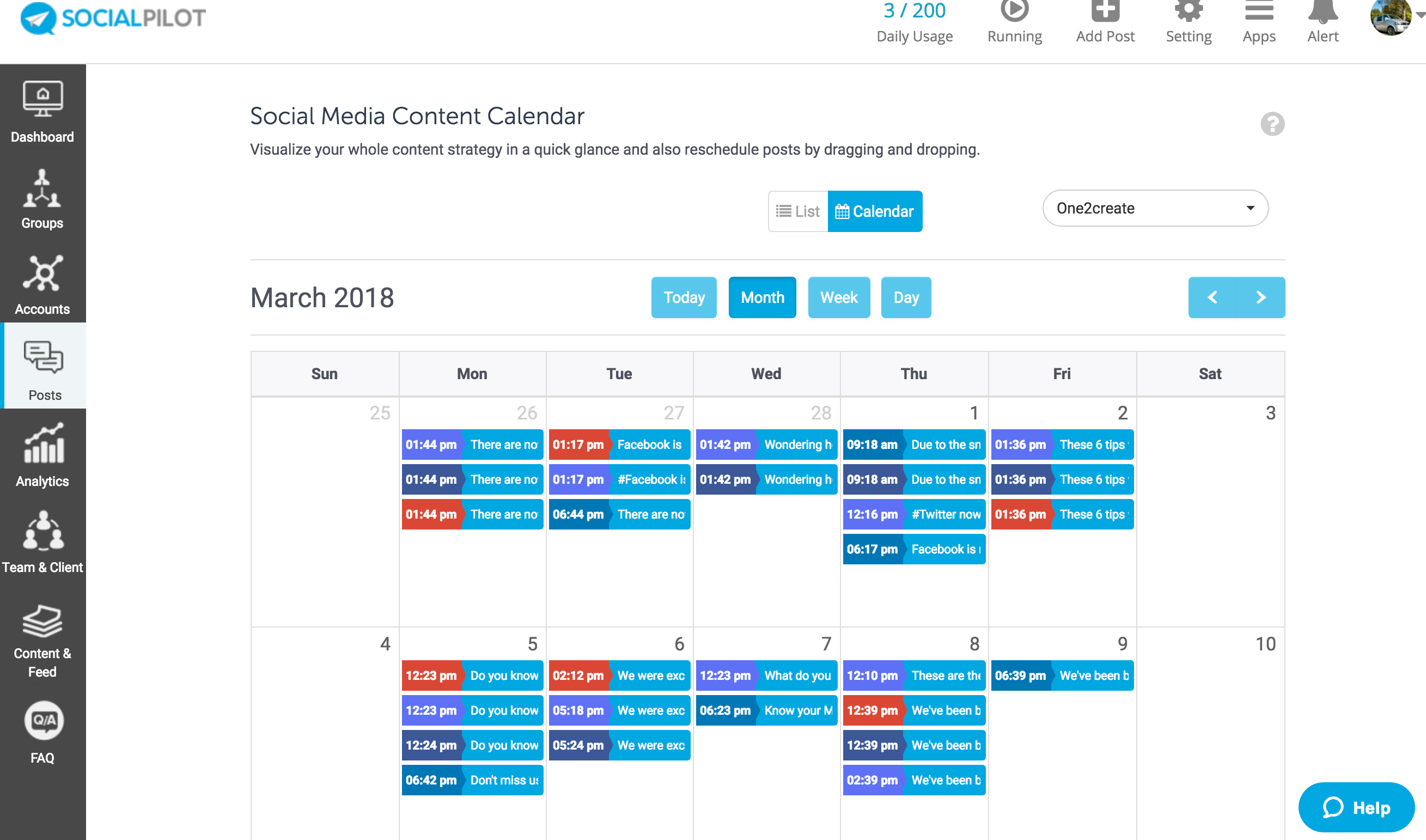 Social Pilot scheduling screen - Hootsuite vs Sprout vs Social Report vs Social Pilot