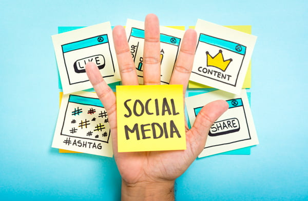 Hand with social media sticky note