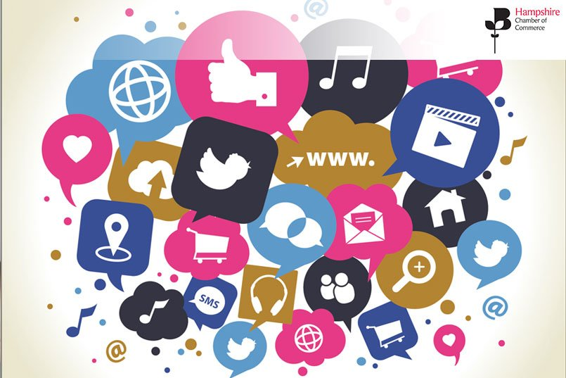 Overlapping speech bubbles with social media icons - join this advanced social media training workshop on 9th September 2020