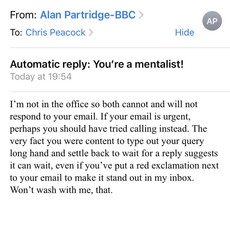 alan partridge auto reply - The Good, Bad, and Ugly Marketing Campaigns of 2019