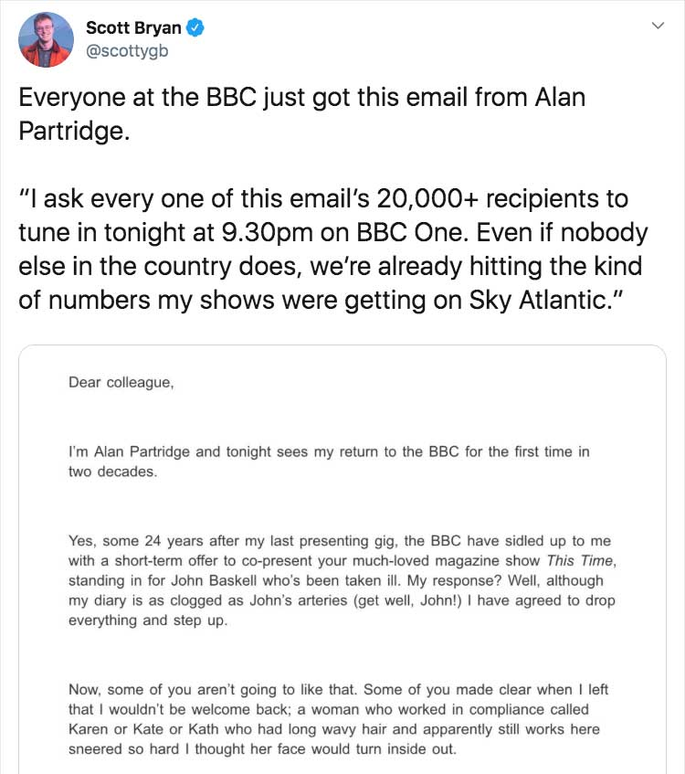 alan partridge returns letter - The Good, Bad, and Ugly Marketing Campaigns of 2019