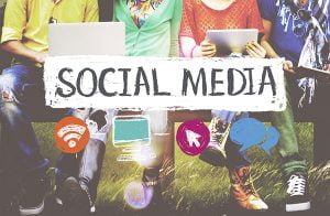 social media followers increase abstract with icons