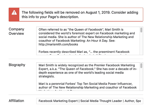 Facebook will remove specific Business Page info sections