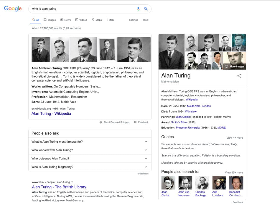 knowledge graph snippet 950x698 1 - What Are the Different Types of Featured Snippets