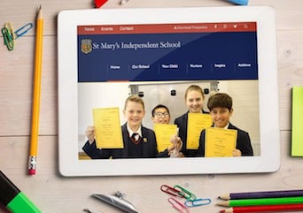 St Marys Independent School - Web Design layout on Ipad