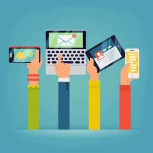 web design hands holding mobile devices